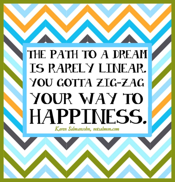 zig zag way to happiness karen salmansohn image quote