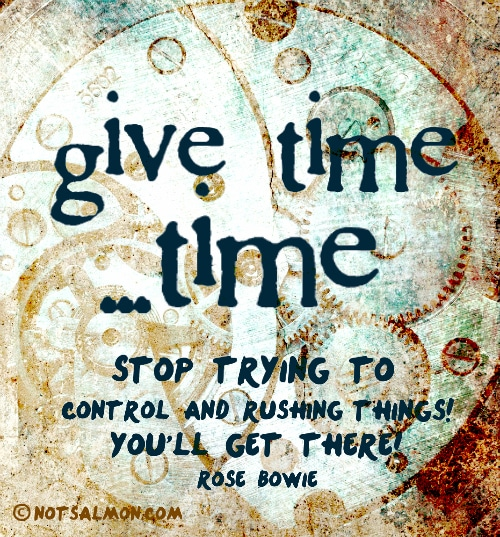 Try Not To Take Things Personally: Give Time ...time! Stop Trying To Control And Rushing Things