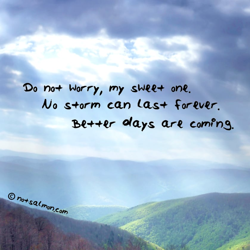 do not worry my sweet one no storm can last forever karen salmansohn quote