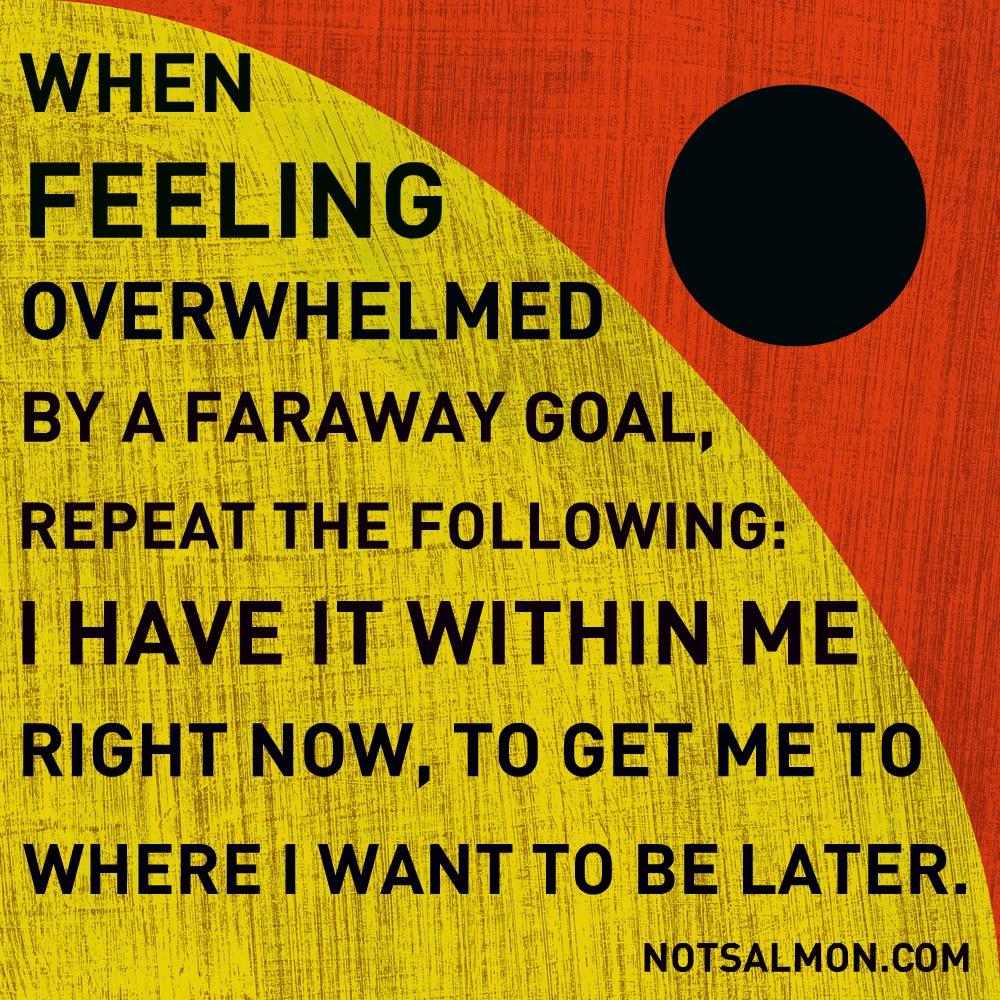 feeling overwhelmed by a faraway goal karen salmansohn quote