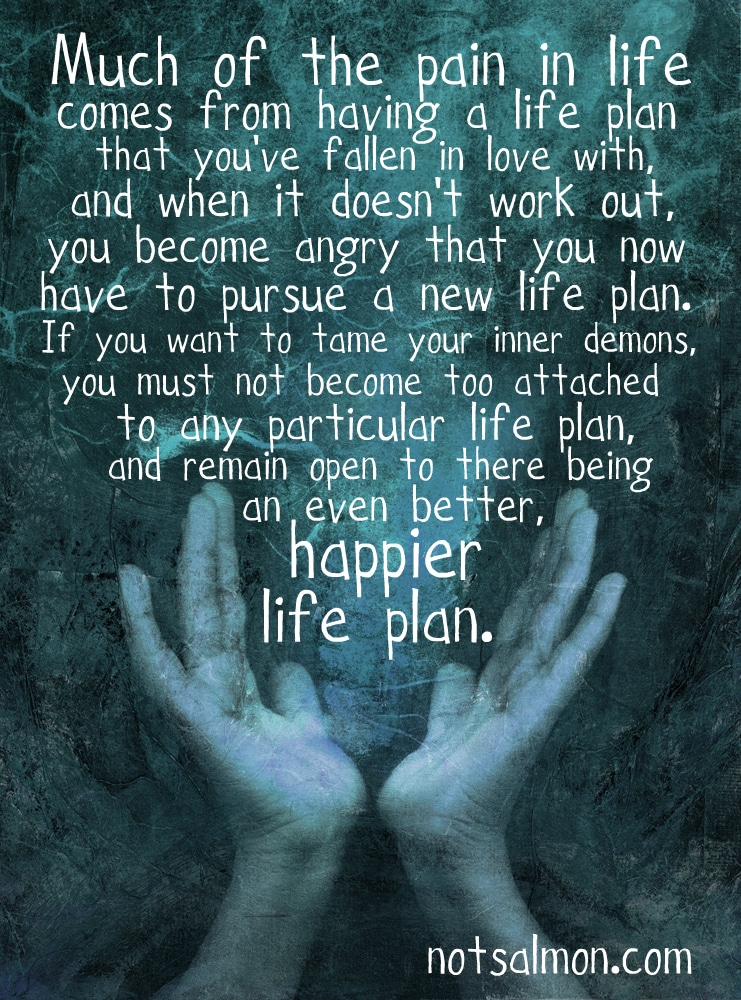much of the pain in life comes from plan b karen salmansohn quote