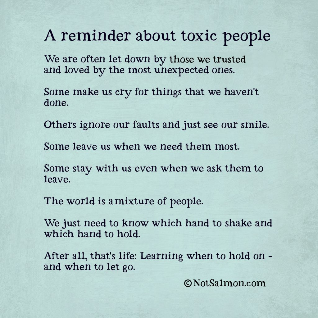A reminder about toxic friendships and toxic relationships