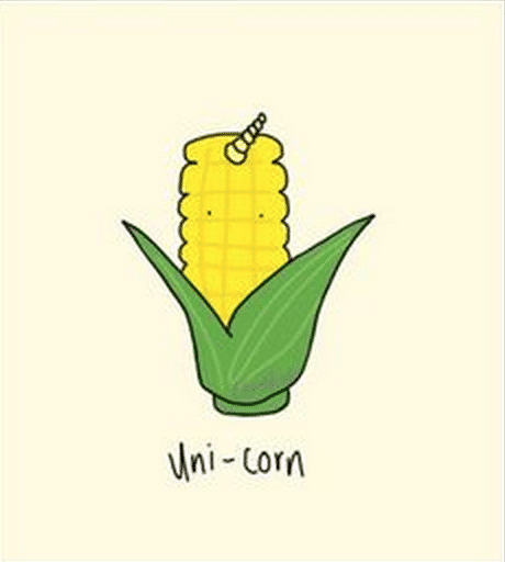 funny unicorn pun as a corn with a horn