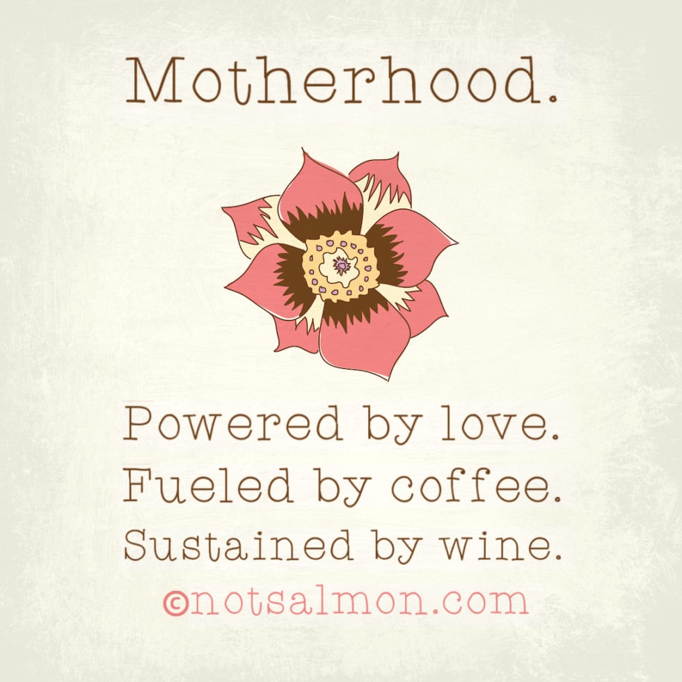 poster motherhood love coffee wine