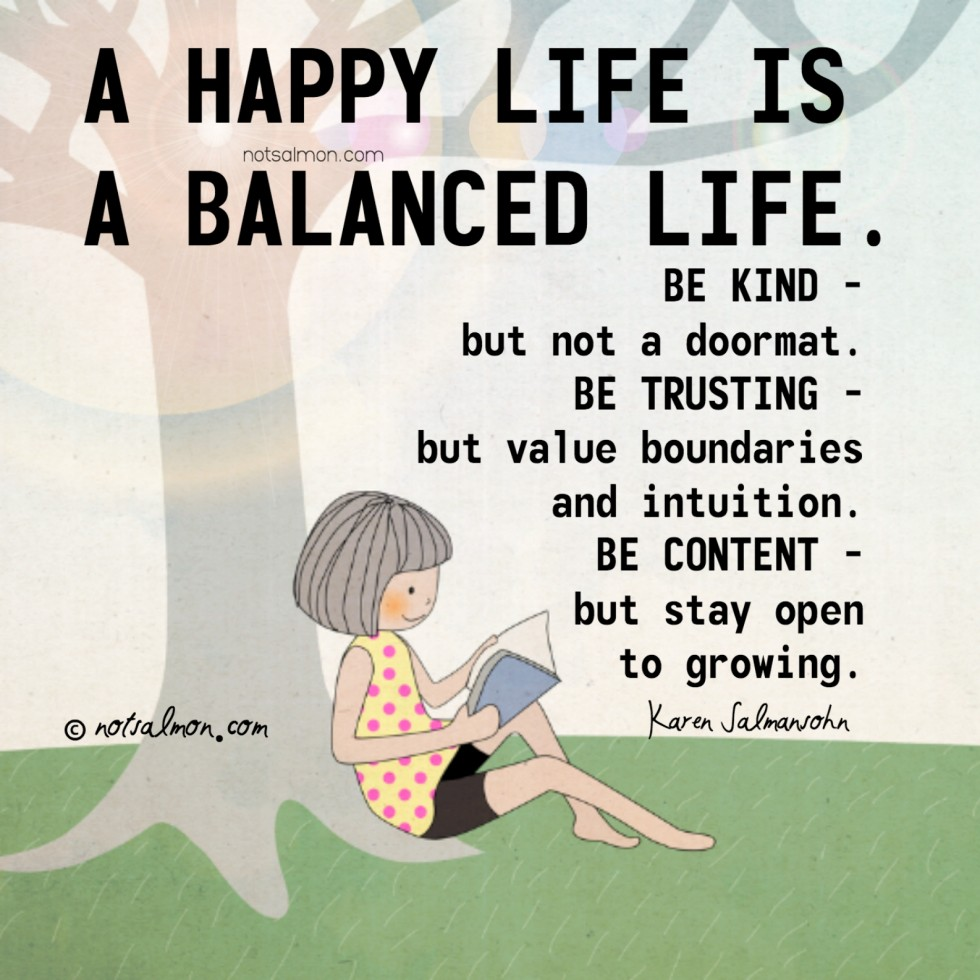 need to live a balanced life