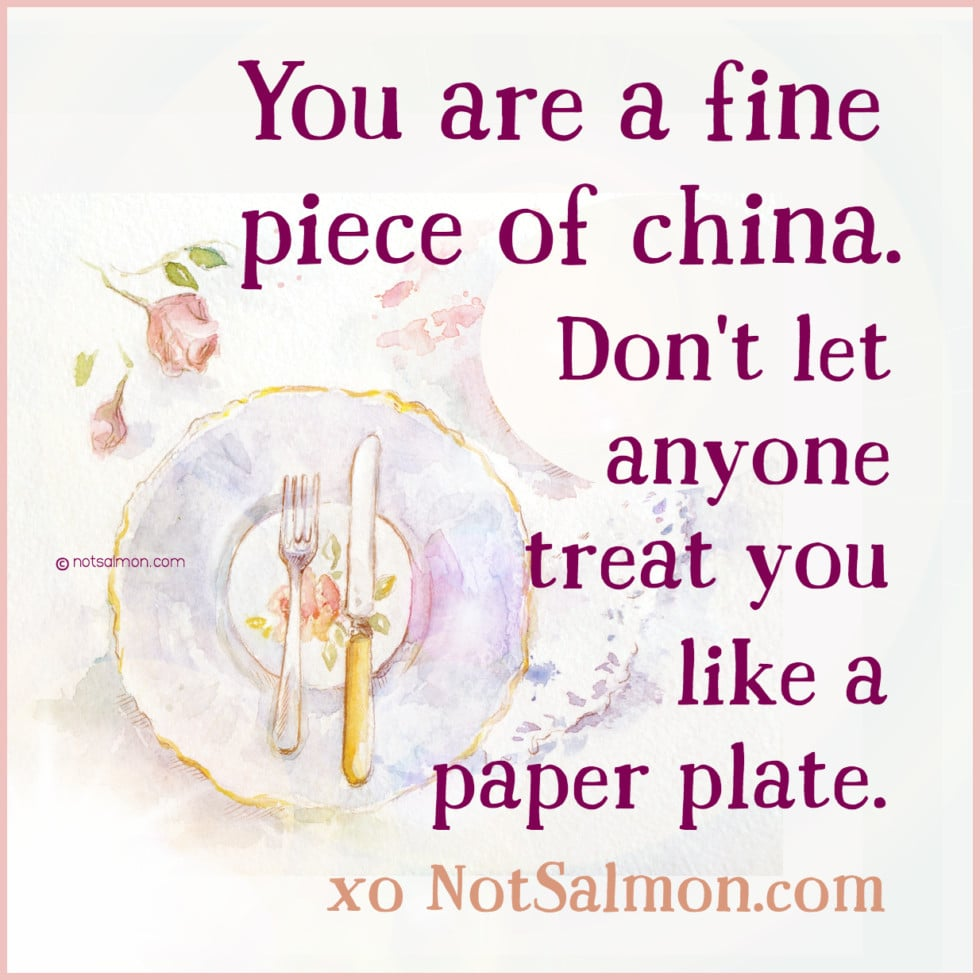 fine piece of china paper plate motivational quote karen salmansohn