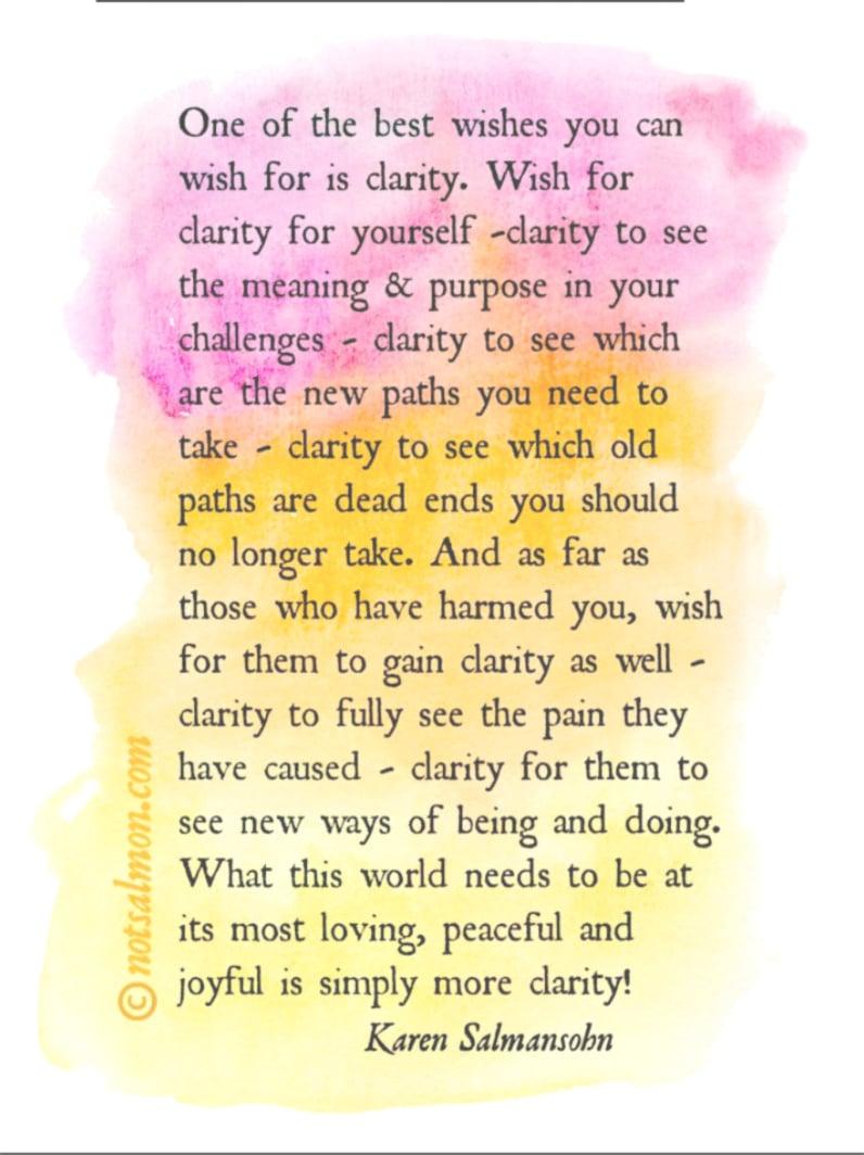 wish for quote clarity karen salmansohn