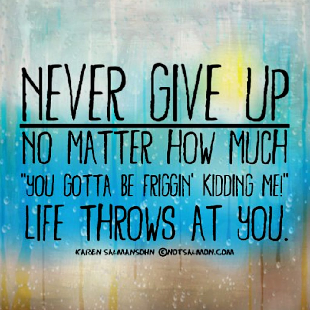 never give up humorous quote about life