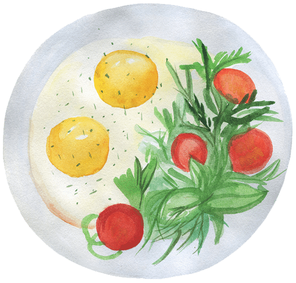 Eggs and greens illustration