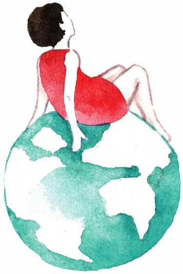 Illustration of girl sitting on earth