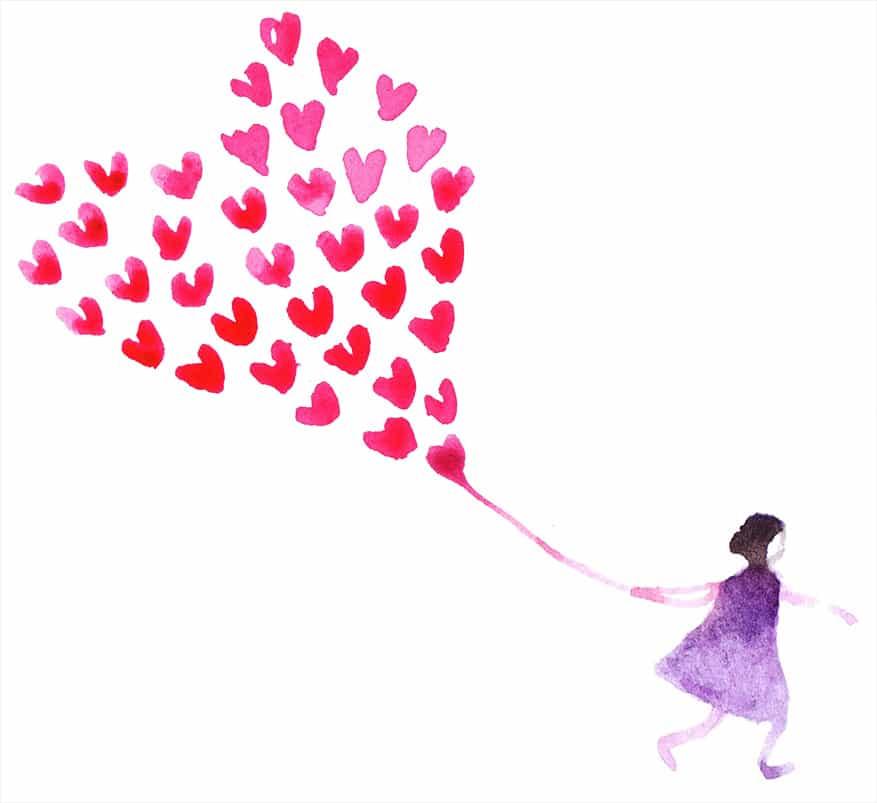 Girl with heart balloons illustration