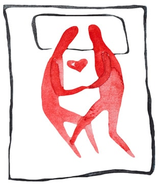 Happy couple in bed illustration