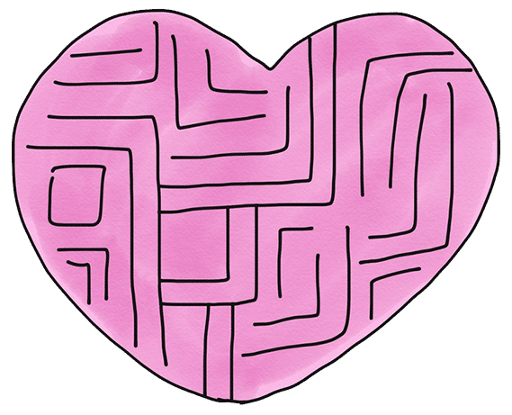Heart maze illustration