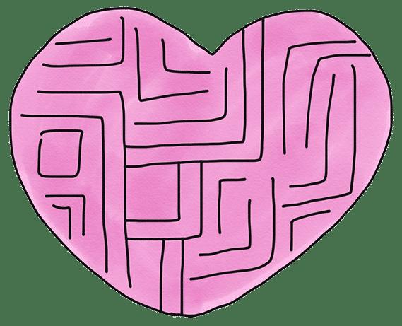 Heart maze illustration