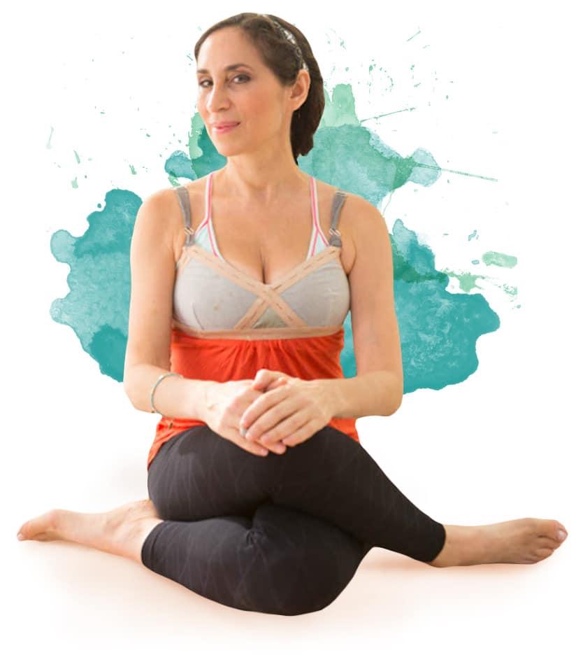 Karen yoga legs crossed.