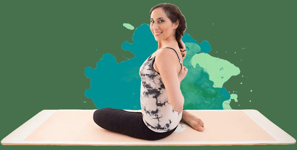 Karen yoga stretching arms behind back