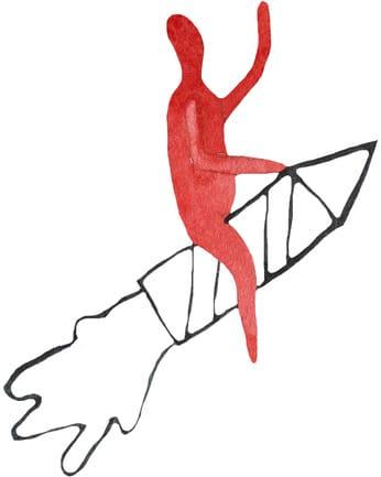 Man riding on rocket illustration