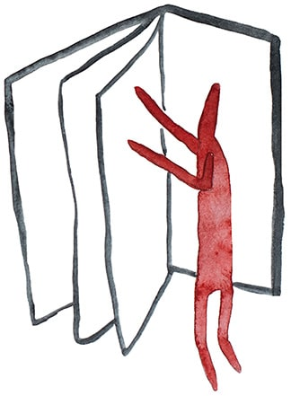 Illustration of a man standing in an oversized book