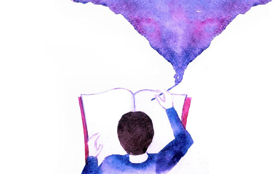 Illustration of a person writing in a book and swirling up to a paint cloud.