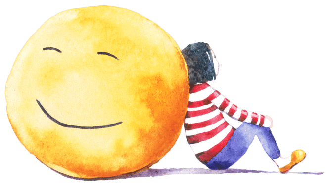 Illustration of a girl sitting against a giant smiley face.