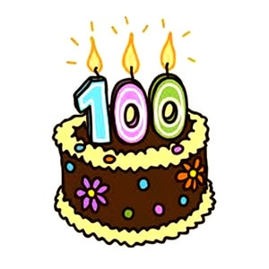 100th birthday party cake illustration