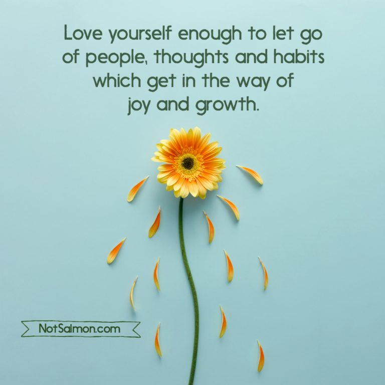 Love yourself enough to let go of people, thoughts and habits which get in the way of joy and growth. NotSalmon.com
