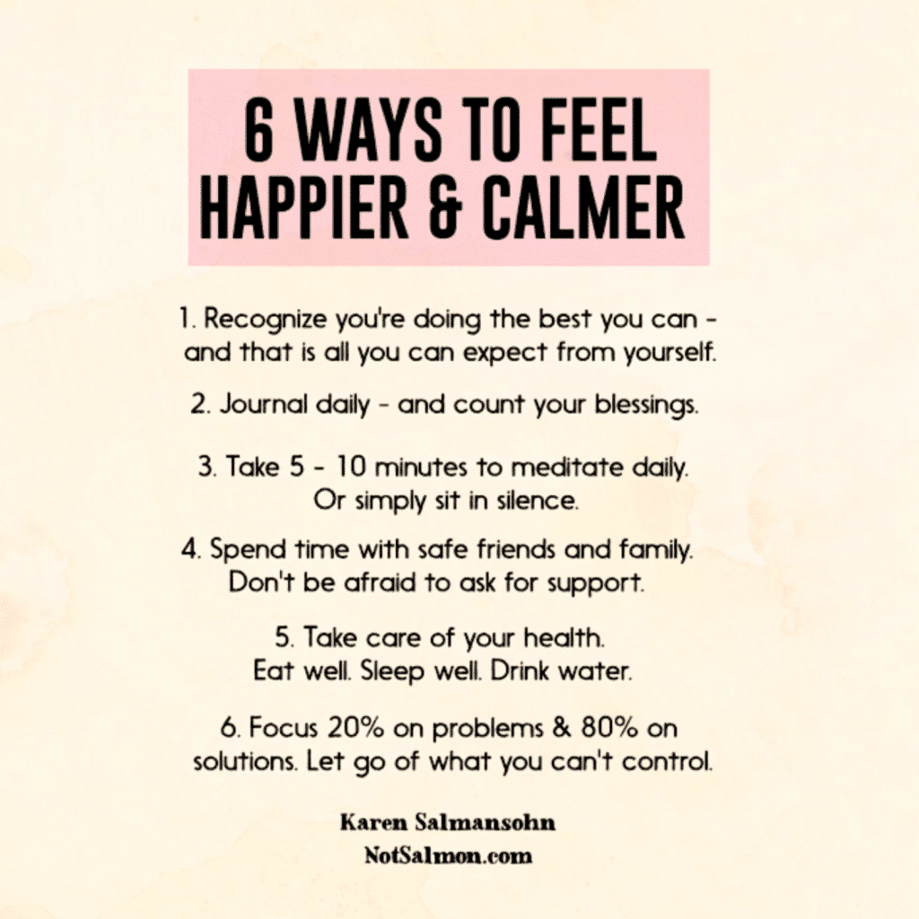 ways to feel happier and calmer reminder
