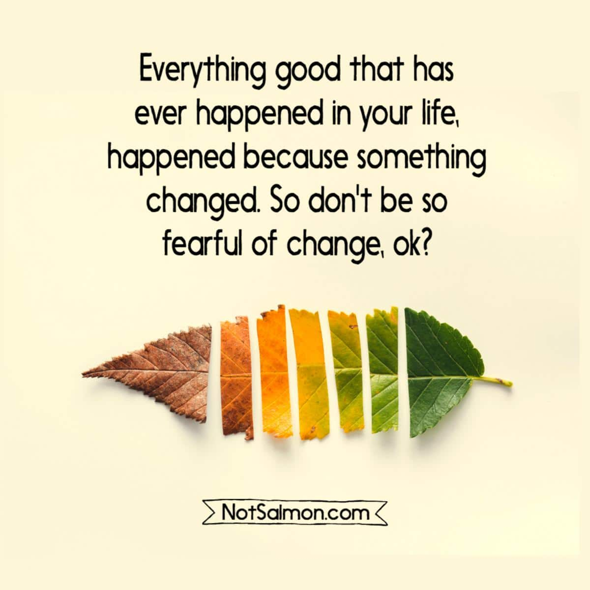quote everything good due to change don't be fearful