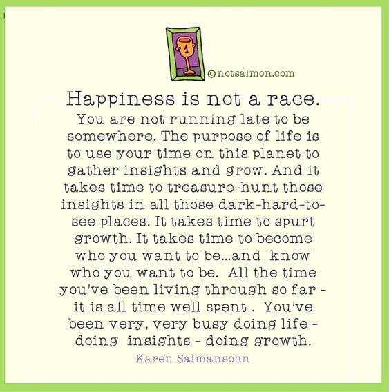happiness is not a race