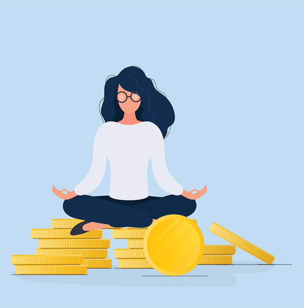 Meditating Woman Sitting On Gold